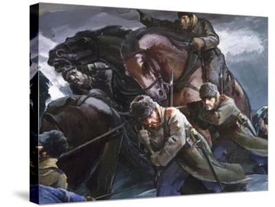 General Gurko Passing Balkans with His Troops, Detail, Russo-Turkish War--Stretched Canvas Print