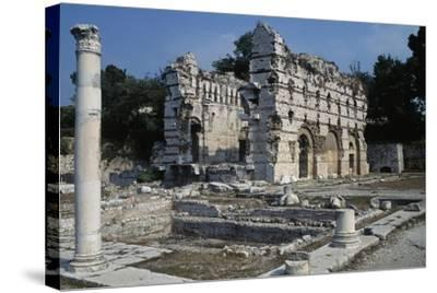 Area of the Gymnasium and the East Wall of the Frigidarium, North Bath--Stretched Canvas Print