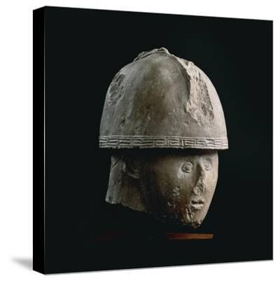 Colossal Stone Head of Warrior with Crested Helmet, from Numana, Province of Ancona--Stretched Canvas Print