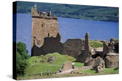 View of Urquhart Castle with Loch Ness in the Background--Stretched Canvas Print