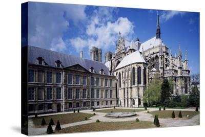 View of Apse of Archbishop's Palace of Cathedral of Notre-Dame , Reims, France 13th Century--Stretched Canvas Print