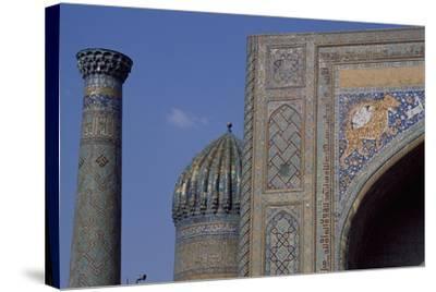 Detail of Tympanum of Tilla Kari Madrasa, Completed in 1660, Registan, Samarkand, Uzbekistan--Stretched Canvas Print