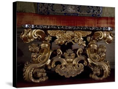 Baroque Style Carved and Gilt Wood Console Table, with Inlaid Marble Top, Italy--Stretched Canvas Print