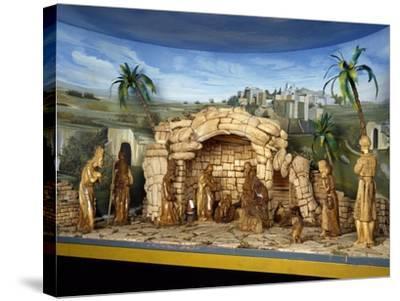 Nativity, Nativity Scene with Olive Wood Figurines, Palestine--Stretched Canvas Print