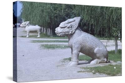 Stone Statues of Animals Along Sacred Way or Spirit Way Leading to Tombs of Ming Emperors Beijing--Stretched Canvas Print
