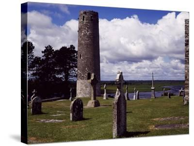 Ireland, Remains of Village Founded by St Ciaran of Clonmacnoise on Banks of Shannon River--Stretched Canvas Print