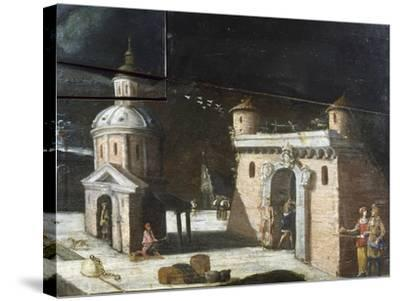 Landscape with Architectural Elements, Detail from a Painting on an 18th Century Harpsichord--Stretched Canvas Print