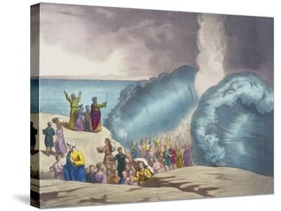 Parting of Red Sea of Old Testament, End of 19th Century by Bequet, Delagrave Edition, Paris--Stretched Canvas Print