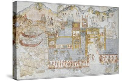 Miniature Fresco Depicting a Naval Fleet Leaving Dock, from the West House of Thera or Santorini--Stretched Canvas Print