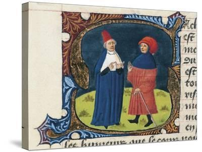 Doctor with Student, Miniature from the Treaty of Medicine--Stretched Canvas Print