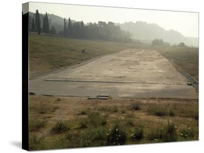 Greece, Stadium Running Track at Archaeological Site of Olympia--Stretched Canvas Print