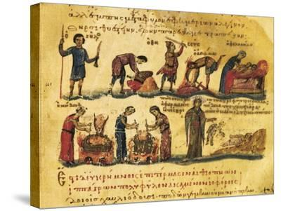 Peasants Lives, Miniature from Treaty on Hunting and Fishing, Manuscript, Greece 11th Century--Stretched Canvas Print