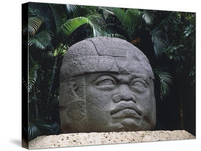 Olmec Civilization, Colossal Stone Head of a Warrior, 1100-475 B.C.--Stretched Canvas Print