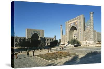 Uzbekistan, Samarkand, Registan Square--Stretched Canvas Print