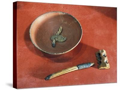 Funerary Objects from the Western Cemetery of Qurnet Murai, Terracotta Lamp, Wood Lighter, Matches--Stretched Canvas Print