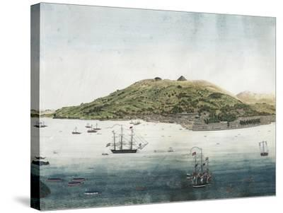 Japan, Nagasaki, Nagasaki City and Roads with Dutch Ships and Chinese and Japanese Junk Boats--Stretched Canvas Print