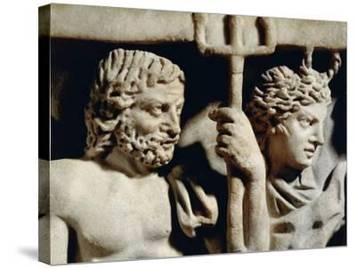 Marble Sarcophagus, Relief Depicting Prometheus Myth, Detail, Faces of Neptune and Amphitrite--Stretched Canvas Print