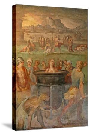 A Female Saint Is Boiled Alive--Stretched Canvas Print