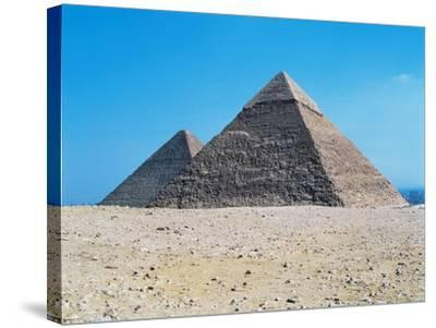 Egypt, Giza, Giza Pyramids, Pyramid of Chephren and Kheops Pyramid in the Background--Stretched Canvas Print