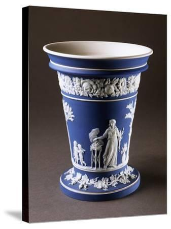 Vase, Circa 1780, Blue and White Stoneware, Wedgwood Manufacture, Staffordshire, England--Stretched Canvas Print