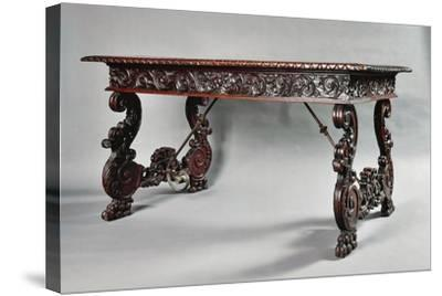 Carved Walnut Genoese Table with Lyre-Shaped Legs, Italy--Stretched Canvas Print