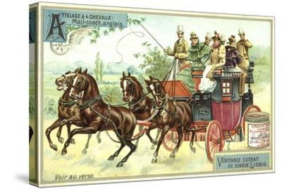 English Mail Coach--Stretched Canvas Print