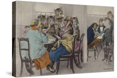 Cats Drinking Tea and Monkeys Playing Cards--Stretched Canvas Print