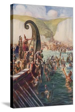 The Landing of the Romans in Britain, 54 Bc-Joseph Ratcliffe Skelton-Stretched Canvas Print