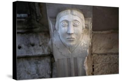 Human Face, Detail of Balcony Depicting Human Face, Historical Centre, Barletta, Apulia, Italy--Stretched Canvas Print