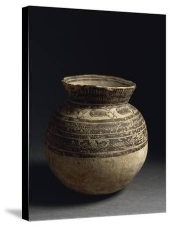 Ceramic Vase Painted with Geometric Pattern, from Tell Hassan, Late 5th Millennium BC--Stretched Canvas Print