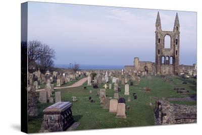 View of Ruins of St. Andrews Cathedral with Tower of St. Rule, Fife, Scotland, 12th-15th Century--Stretched Canvas Print