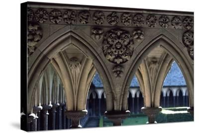 Cloister of Marvel, Abbey of Mont St. Michel, Normandy, France--Stretched Canvas Print