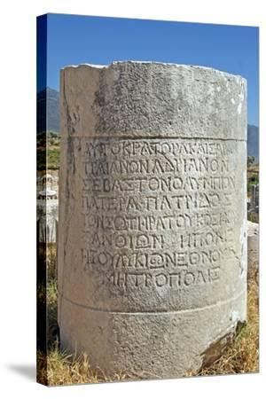 Inscribed Stone, Xanthos, Turkey--Stretched Canvas Print