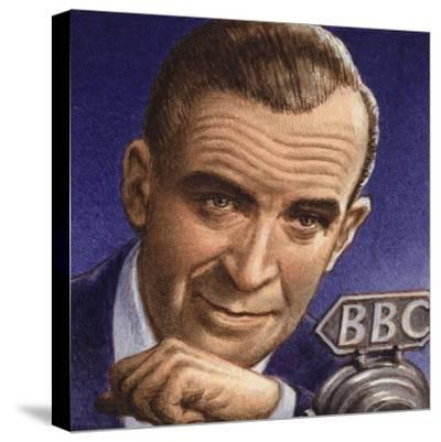 Ed Murrow Broadcasting from Blitz-Hit London-Pat Nicolle-Stretched Canvas Print