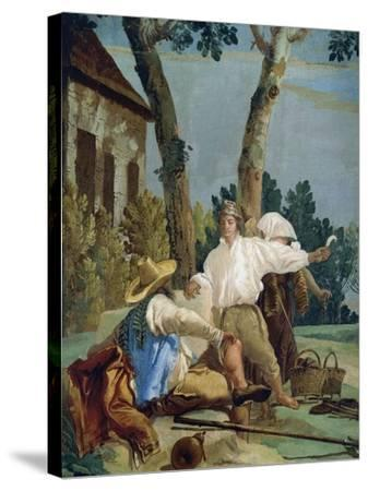 Peasants at Rest-Giandomenico Tiepolo-Stretched Canvas Print