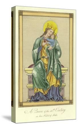 A Queen of the 13th Century in Her Habit of State--Stretched Canvas Print