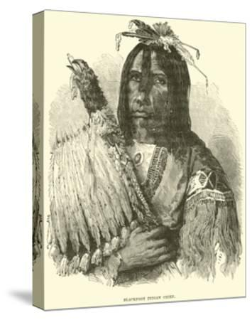 Blackfoot Indian Chief--Stretched Canvas Print