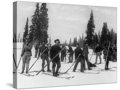 A Ski Brigade, C.1910-20--Stretched Canvas Print