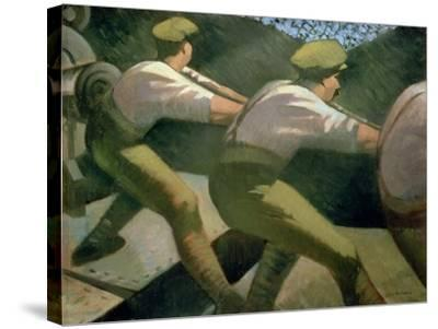 Loading a Gun in the Trenches, 1918-Christopher Richard Wynne Nevinson-Stretched Canvas Print