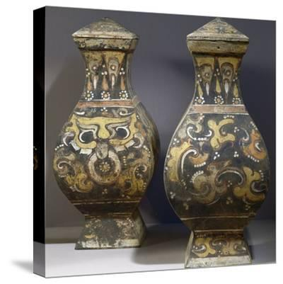 Pair of Hang Fu Vases--Stretched Canvas Print