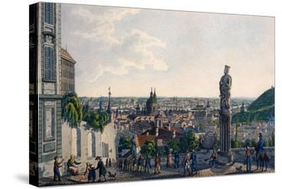 View of Prague from the New Castle Steps, 1835-Vincenc Morstadt-Stretched Canvas Print