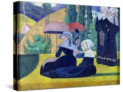 Breton Women in the Shade, 1892-Emile Bernard-Stretched Canvas Print