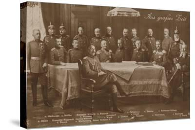 Kaiser Wilhelm II with His War Council, 1914--Stretched Canvas Print