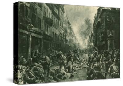 Battle at Night in Mulhausen-Felix Schwormstadt-Stretched Canvas Print