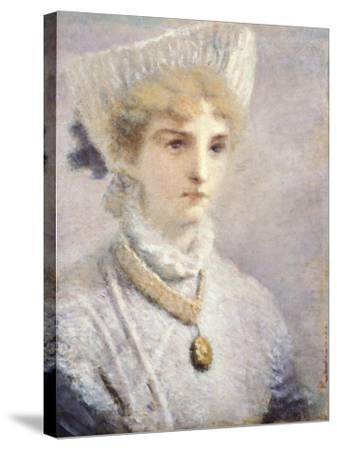 Girl in White-Daniele Ranzoni-Stretched Canvas Print