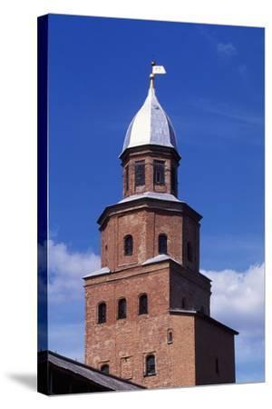 Tower on City Walls of Novgorod Kremlin--Stretched Canvas Print