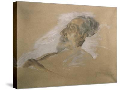 Giuseppe Verdi on His Deathbed-Adolfo Hohenstein-Stretched Canvas Print