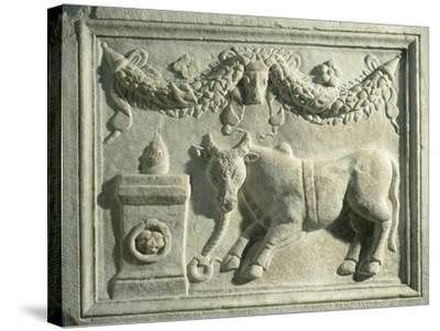 Altar with Relief Depicting Sacrifice of Bull--Stretched Canvas Print