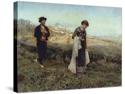 Courtship-Francesco Paolo Michetti-Stretched Canvas Print