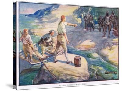 Natives Gathered Round Them-Joseph Ratcliffe Skelton-Stretched Canvas Print